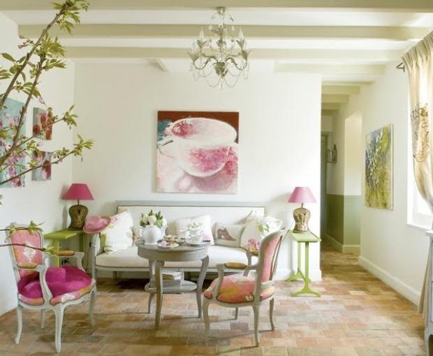 soggiorno provenzale: mobili, pareti e pavimenti - Tende Soggiorno Stile Provenzale